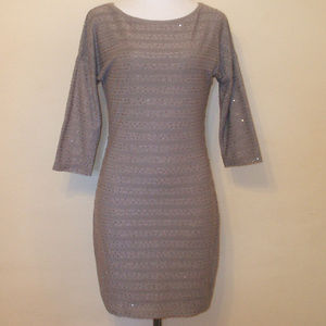 Express Taupe Bodycon Sequin Dress